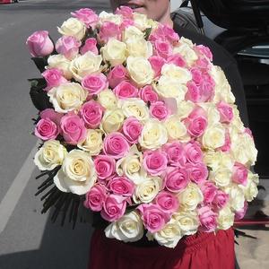 Букет 101 белая и розовая роза,  высота 60 см