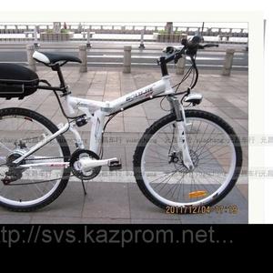 Электровелосипед складной горный оснащен дисковыми тормозами.